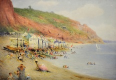 Bathing machines on a Dorset beach