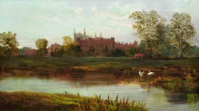Eton College and Chapel from the Banks of the River Thames.