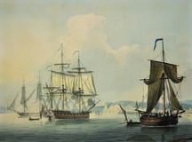 Frigates in a Calm off Dover with a View of the Town and Pierheads. 1791.